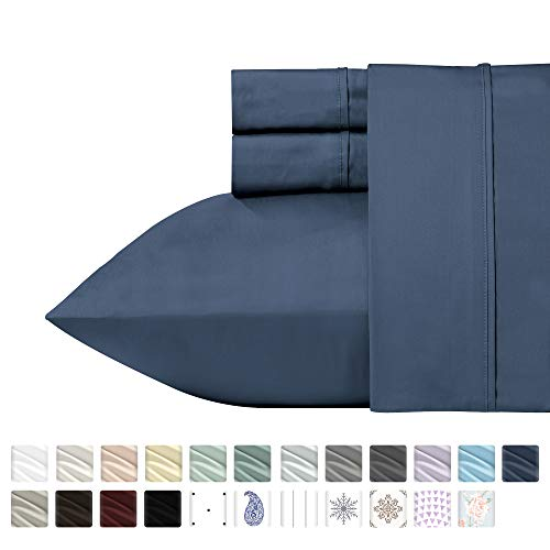 California Design Den 400 Thread Count 100% Cotton Sheet Set, Indigo Batik Queen Size Sheets 4 Piece Set, Long-Staple Combed Pure Natural Cotton Best Bed Sheets for Bed, Soft & Silky Sateen Weave