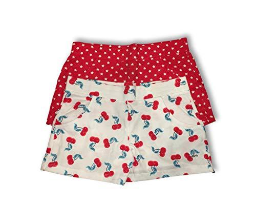 Edition Short Print - Girls Patriotic Shorts - Set of 2 Red White & Blue - (Red Stars & Cherries, 10/12)