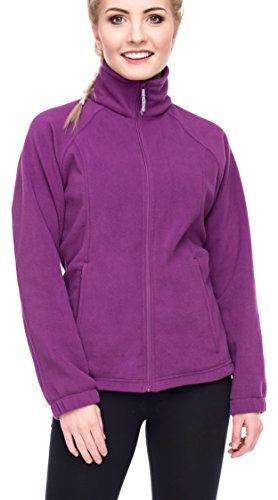 Women's Full-Zip Polar Sport Fall Winter Spring Fleece Jacket Plum XL (Jacket Front Plum Zip)