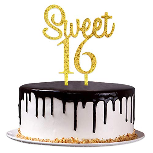 Sweet 16 Cake Topper - Art Focus Happy Birthday Cake Topper Sweet 16 Party Supplies