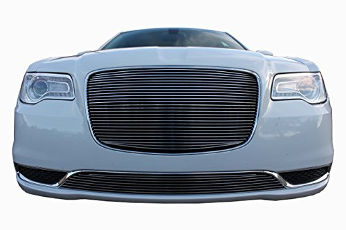 USA Made! Fits 2015-2018 Chrysler 300 and 300C 2PC Chrome Polished Overlay Billet Grille Combo Kit ()