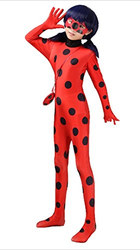 Miraculous Cosplay Jumpsuit Halloween Girl Ladybug Costume Halfmask Bag Wig (Adult Coatumes)