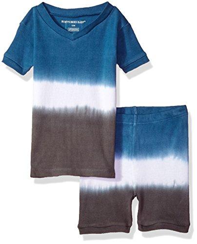 Price comparison product image Burt's Bees Baby Little Kids Organic Short Sleeve Pajama Set, Slate Dip Dye, 24 Months