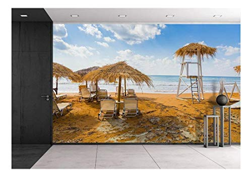 (wall26 - Sun Umbrellas Made of Dry Vegetation, Sun Beds and a Lifeguards 'S Tower at The Mediterranean Sea - Removable Wall Mural | Self-Adhesive Large Wallpaper - 100x144 inches)