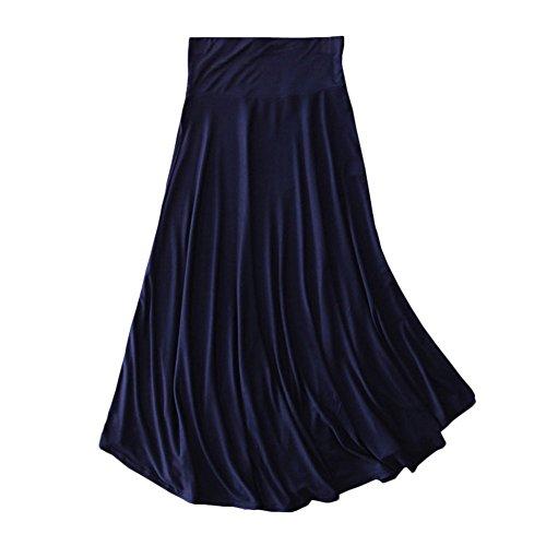 Femme Jupe Uni Haute Tissu Longue Rtro Asymetrique Jupe Midi Taille Marine Doux Jupe Pliss GladiolusA dgnfFBB