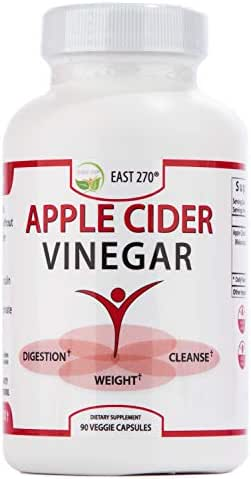 100% Organic Apple Cider Vinegar up to 2,400 mg per Day. 90 Capsules Fast Cleanse Weight Loss, Appetite suppressant, Bloating Relief. Raw ACV Diet Fat Burner & Detox Pills.