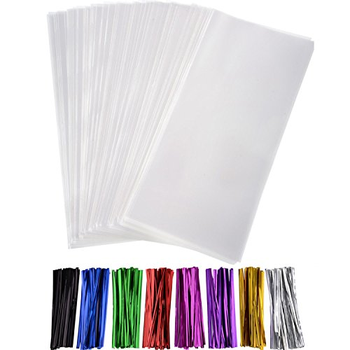Outus 300 Pack Clear Treat Bags Clear Cello Bags with 320 Pieces Twist Ties 8 Colors for Wedding Cookie Gift Candy Buffet Supply Valentine Chocolates(4 x 9 Inches)
