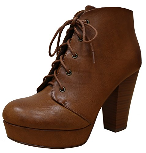 Cambridge Sélectionner La Plate-forme À Lacets Womens Chunky Empilés Talon Bottine Tan Rubpu