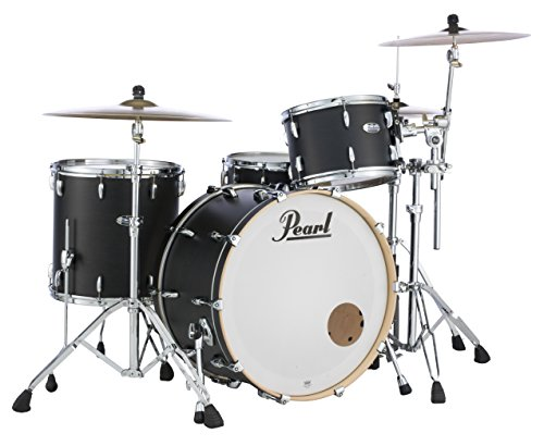 Pearl Masters Maple Complete MCT943XP/C124 3 Piece Drum Shell Pack, Black ()