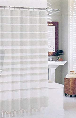 Sanctuary Fabric Shower Curtain Light Gray and White Textured Horizontal Lines Fringed Tassels Edge 100% Cotton Luxury]()