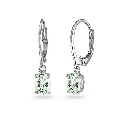 LOVVE Sterling Silver Green Amethyst 7x5mm Oval Dangle Leverback Earrings