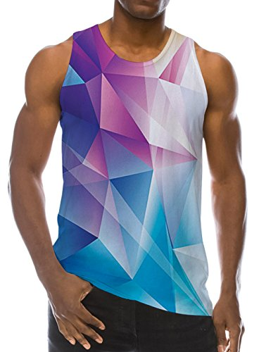 (Loveternal Mens Summer Cool Muscle Tank Tops Boys Casual Gym Sleeveless Graphics Tees Pink Color Block Diamond Sport Shirt 90s Workout Clothing Ringer Beach Surf 3D Tank Top S)