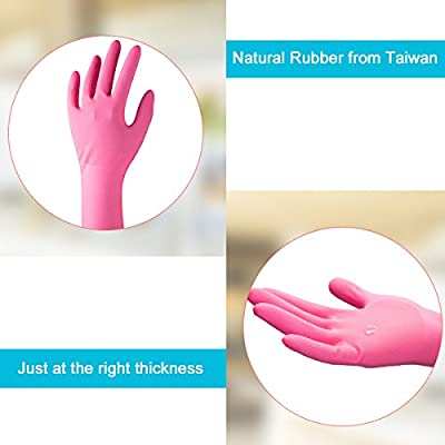 Household Rubber Latex Cleaning Gloves – PEGZOS Reusable Kitchen Natural Rubber Living Wash Gloves, with 3 Colors (Green, Orange, Pink)/3 Sizes (Small, Medium, Large)