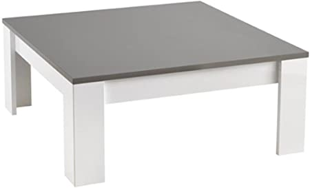 Table Basse Carre Modena Laquee Blanc Grise L 100x100 Cm Amazon