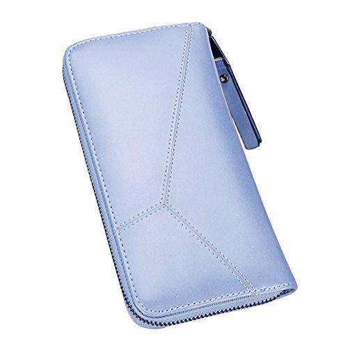 Mujer Carteras Cuero PU Leather tarjeta Carteras y monederos Piel Bolso Billetera Card Holders de gran capacidad cuero de la cartera Solido Simple Cremallera Multi Card Organizador mano y clutches Azul