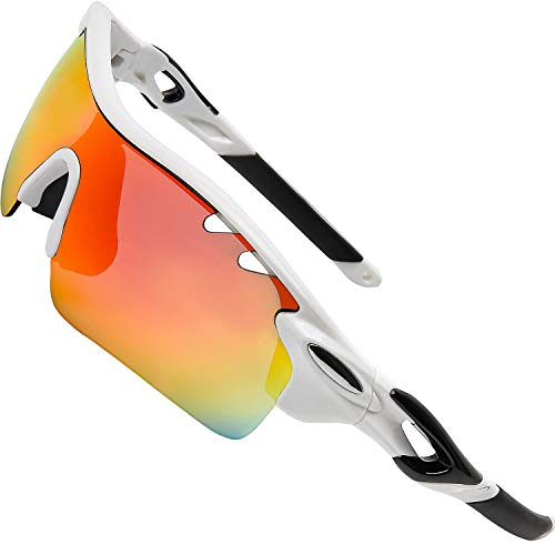 ITSCOOL Polarized Sports Sunglasses with Interchangeable Lenes for Men Women Youth Tennis Baseball Running Driving Fishing Golf Cycling Glasses (Best Glasses For Tennis)