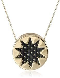 "House of Harlow 1960 Perforated Mini Sunburst Gold Pendant Necklace, 18"""