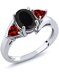1.93 Ct Oval Black Onyx Red Garnet 925 Sterling Silver 3-Stone Women's Ring (Available in size 5, 6, 7, 8, 9)