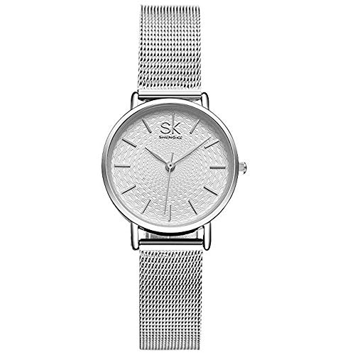 SK Fashion Women Watches Simple Jewelry Mesh Watchband Waterproof Minimalism Lady Wristwatch Sliver 2018 from SHENGKE