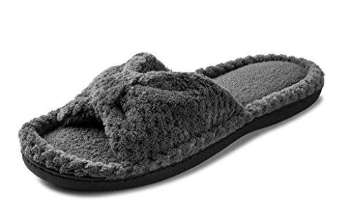 Bow Open Big Classy Beverly Rock In Plush Toe Grey Slipper Womens Colors XaZxw