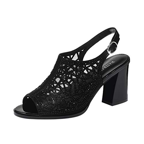 Patent Black Croc (Cenglings Women's Fish Mouth Sexy Lace Hollow Out Sandals Belt Buckle Backless Rhinestone High Chunky Heel Pumps Party Shoes Black)