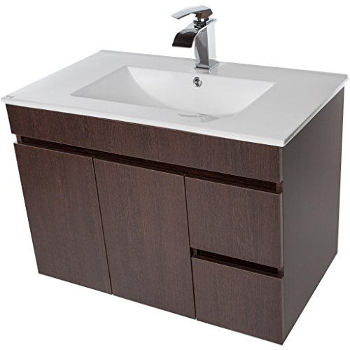 CV Bath Collection Strato Wall Mounted Bathroom Vanity Cabinet Set Bath Furniture With Single Sink (Wenge, 32 (Wenge Vanity Set)