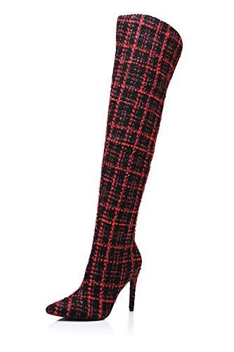 Peatutoori Women Thigh High Boots Plaid Print Pointed to Over The Knee High Boots Ladies Heeled Bootie with Zip Red