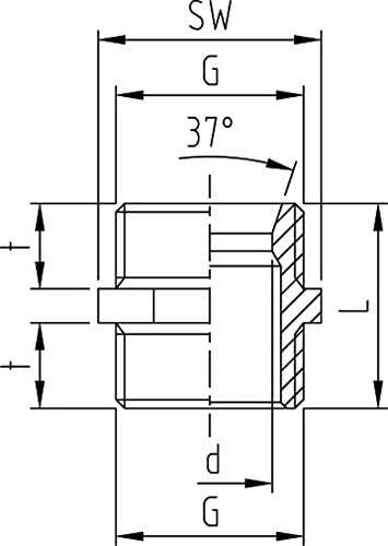 ABA Beul 16001.006.2 Doppelnippel mit Sechskant Messing