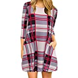 liberalism Plaid Print Spring Summer Round Neck Casual Swing Tunic with Pockets Mini Dress Women's Medium