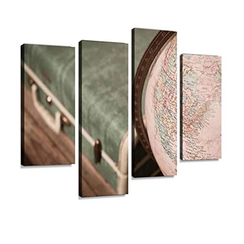 - Retro Green Suitcase and Globe Sitting on Wood Trunk Canvas Wall Art Painting Pictures Modern Artwork Framed Posters for Living Room Ready to Hang Home Decor 4PANEL