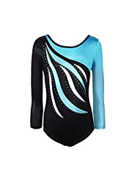 TeenTop Girls One Piece Long Sleeve Gymnastics Leotards Shiny Waves Ballet Dance Wear