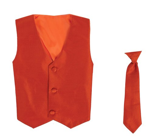 Vest and Clip On Boy Necktie set - BURNT ORANGE - 6/7 ()
