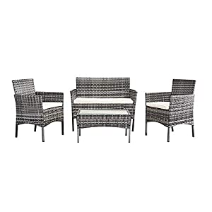 Britoniture Rattan Garden Furniture Set Patio Conservatory 4 Piece Set Indoor Outdoor (Mixed Grey)