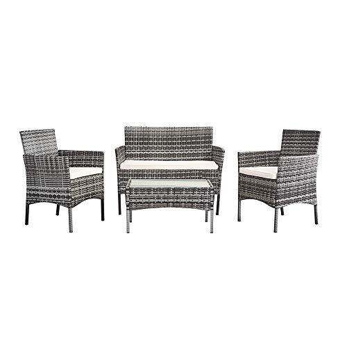 BLUR HORIZON Rattan Garden Furniture Set 4 Piece Coffee Table Chair Sofa Set for Patio Outdoor Poolside Grey Wicker with Beige Cushions