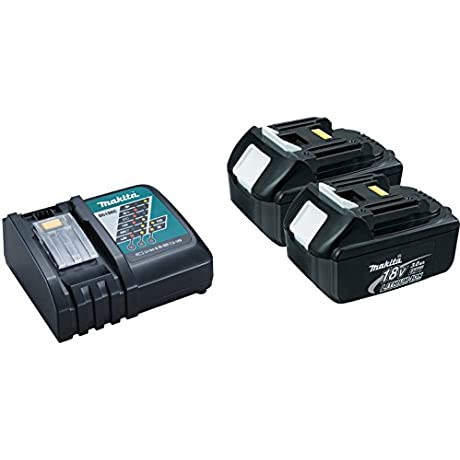 Makita DC18RC Lithium Ion Battery Charger With 2 BL1830 LXT 18V 3 Ah Batteries With 1 Plastic Cover