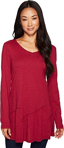 Mod-o-doc Women's Slub Jersey Shirred Asymmetrical Hem Long Sleeve Tunic Claret Blouse
