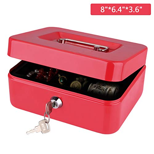 Cash Box, LeHatori Money Safe Key Lock Box with Money Tray Portable Metal Cash Registers Security Storage Bill Coin Container with Carry Handle (8 - Bill/8 Coin