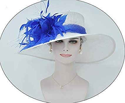 ee729621f0f Wide Brim Kentucky Derby Sinamay hat with Feather Flowers
