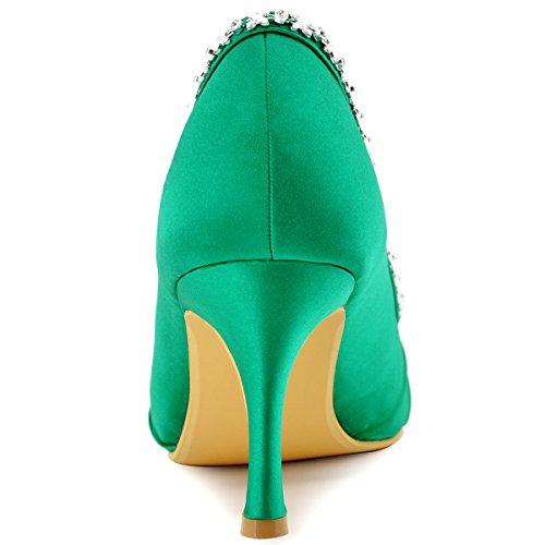 ElegantPark EP2094 Mujer Peep Toe Plisado Rhinestones El tacón alto Satén Noche Zapatos de Baile Verde