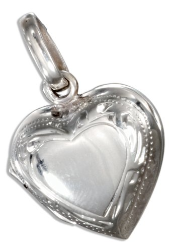 Sterling Silver High Polish Heart Locket with Etched Border (Etched Border Locket)