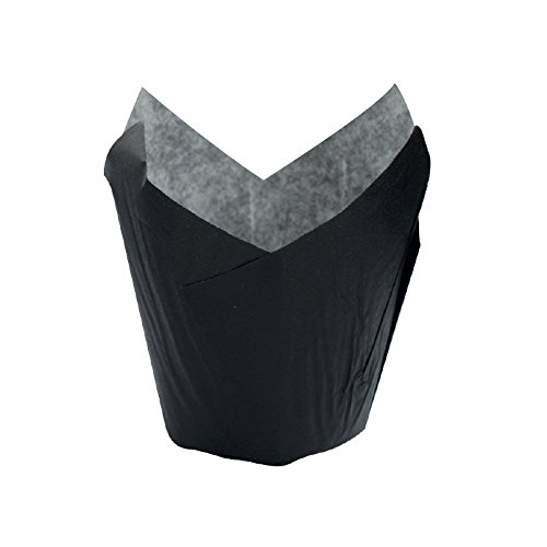 Tulips Black Baking Cup Liner (Case of 120), PacknWood - Black Parchment Paper Cupcake Liners (3 oz, 3.5