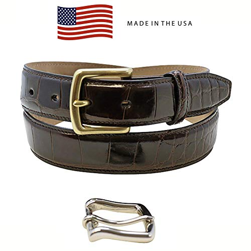 Size 34 Brown Genuine Alligator Belts for Men - American Factory Direct - Gold & Silver Buckle Included – Gift Box - 1 ¼ inch Wide - Made in USA ()