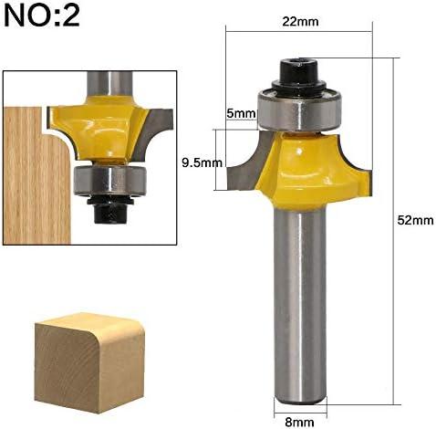 ZZB-ZT, 1pc 8mm Schaft Corner Rund Holz Fräser Holzbearbeitung Werkzeug Zwei Flöte Holz Fräser Endmill Mit Top Bearings (Size : NO 2)