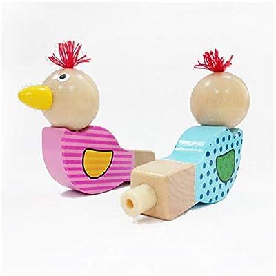 XuBa Cute Cartoon Bird Shape Wooden Whistle Kids Baby Musical Instrument Toy: Home & Kitchen