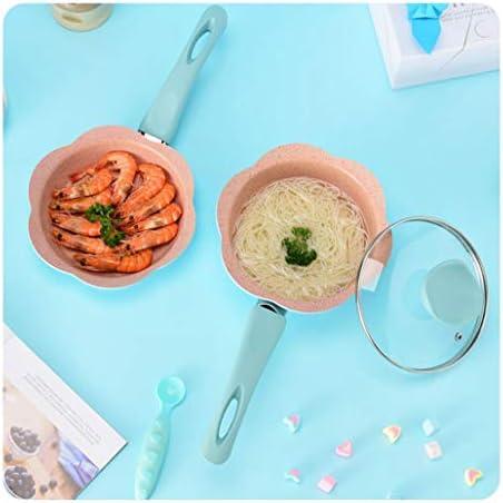 Nbg Poêle de cuisson pot de couleur casserole en céramique pot barbecue pot induction cuisinière gaz aluminium poêle anti-adhésif casserole à lait, bleu ensemble 01