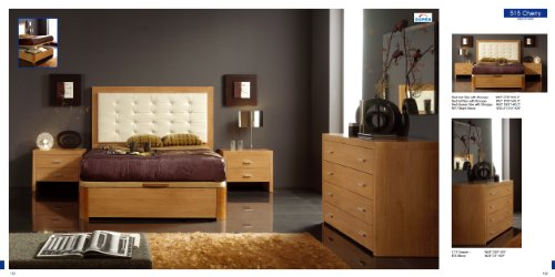 ESF Alicante 515 Contemporary Cherry Finish Bedroom Set with Storage - Queen Size