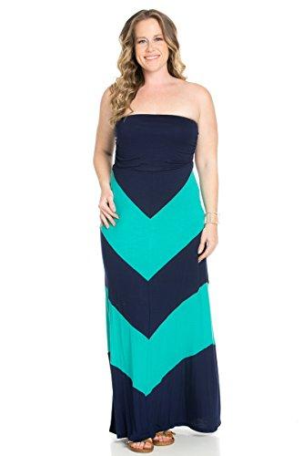 Women's Off the Shoulder Strapless Chevron Maxi Dresses Plus Size Navy Mint 2X