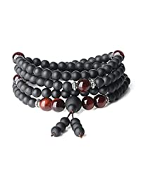 AmorWing Multilayer Buddhist Prayer Matte Onyx Tiger Eye 108 Mala Beads Bracelet Necklace 6mm