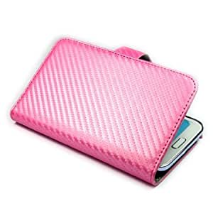 Cerhinu ivencase Wallet Carbon Fibre Leather Case Cover for Samsung Galaxy Note II 2 N7100 Pink + One phone sticker +...