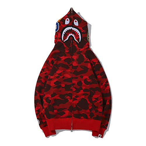 Shark Men's Red Camouflage Casual Bape Yur67 Hoodie Mouth Zrq1baw sQrdCxth